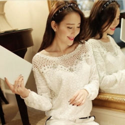 Casual long sleeve Sexy Lace Embroidery Top