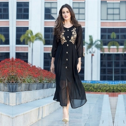 Black Golden Embroidered Heavy Georgette Kurti