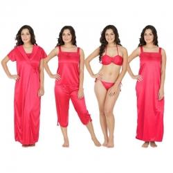 Littledesire Lacey Red 6 pcs Satin Nightwear