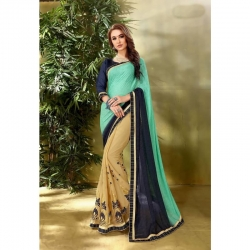 Georgette Designer Embroidered Work Saree