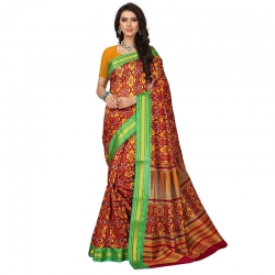 Littledesire  Silk Patta Printed Saree With Blouse