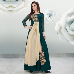 Littledesire Embroidered Long Stylish Shoulder Cut Georgette Kurta