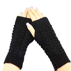 Knitted Woollen Warm and Fashionable Fingerless Winter Gloves