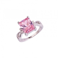 Littledesire Pink & White Topaz Sapphire CZ Silver Ring