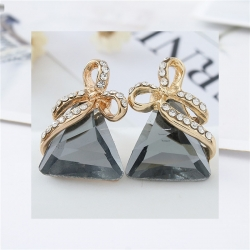 Littledesire Triangle Crystal Gold Bow Earrings