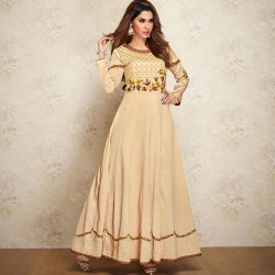 Littledesire Embroidered Floral Design Soft Silk Gown