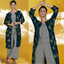 New Designer Crop Top With Bottom & Printed Shrug Kurta