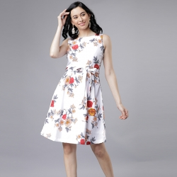 Littledesire Boat Neck Floral Print White Dress