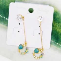 Littledesire Colorful Flowers Rhinestone Long Earrings
