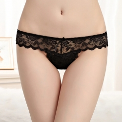 Littledesire Bow Floral Lace Transparent Panty