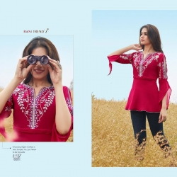 Embroidered Round-Neck With Cut-Out Sleeve Kurti Top