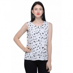 Littledesire Crepe Printed Sleeveless White Top