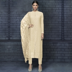 Embroidered Chikankari A-Line Kurta & Bottom With Dupatta