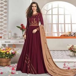 Stylish Embroidered Swarovski Work Gown With Dupatta