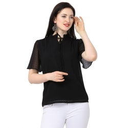 Tie-Up Neck Chiffon Plain Black Top