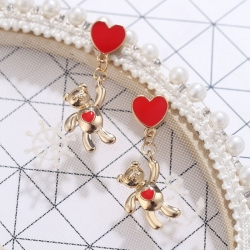 Creative Red Love Heart Cute Teddy Earrings