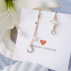 Asymmetrical Stars Moon Crystal Pearl Earrings