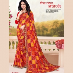 Check Printed Georgette Bandhani Saree