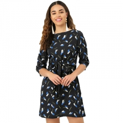 Boat Neck Printed Black Dress