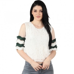 Women Round Neck Floral Lace Top