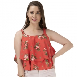 Frills Floral Print Sleeveless Tiered Ruffle Top