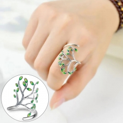 Fashion Green Leaf Opening Sterling Silver 925 Ring