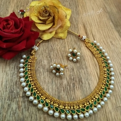 Stylish Green Stone Studded Choker Pearl Necklace Set