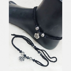 Silver Black Thread Anklet
