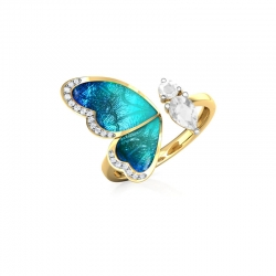 Blue Butterfly Crystal Zircon Golden Open Ring