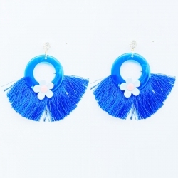 Circle Hoops Fan Fringe Tassel Earrings