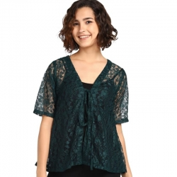 Stylish Half Sleeve Lace Shrug Top