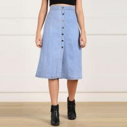 Light Blue Front Button Straight Denim Skirt
