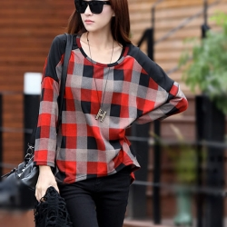 Loose Lattice Batwing Long Sleeve T-Shirts