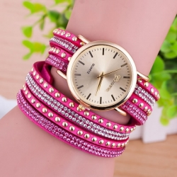 Colorful Jewel-encrusted Bracelet Watch
