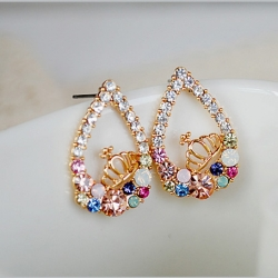 Colorful Crystal Water Droplets Crown Earring