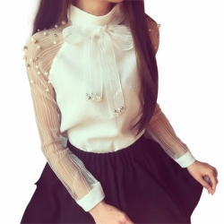 Bow of Pearl White Solid Party Wear Top