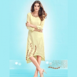 Trail Cut With Fold-Up Sleeves Faux Georgette Embroidered Kurta