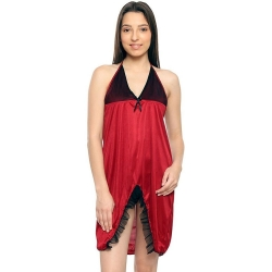 Halter Neck Satin Red and Black Sleepwear