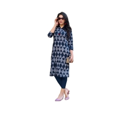 Blue Heavy Printed Cotton Kurta