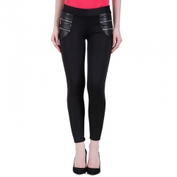 Littledesire  Black Stretchable Zipper Jeggings