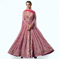 Embroidered Designer Long Georgette Kurta With Dupatta