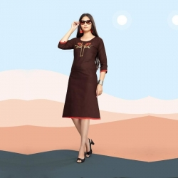 Littledesire Embroidered Cotton Slub Straight Kurti