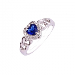 Blue Sapphire Heart Cut AAA CZ 925 Sterling Silver Ring