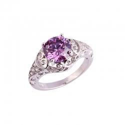 Littledesire Purple & White CZ Sterling Silver 925 Ring