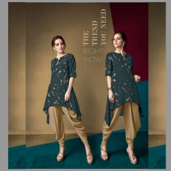Littledesire Printed Up Down Kurti With Dhoti Pant