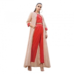 Embroidered Crop Top With Bottom & Shrug Kurta