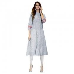 Littledesire Front Slit Linen Kurta - Grey