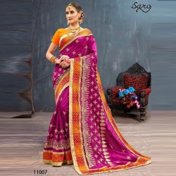 Littledesire Magenta Silk Embroidered Bangalori Festival Saree