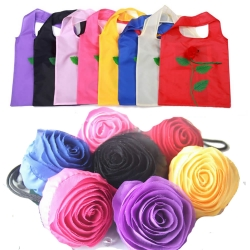 10 Pcs Reusable Foldable Rose Grocery Random Color Shopping Tote Bag