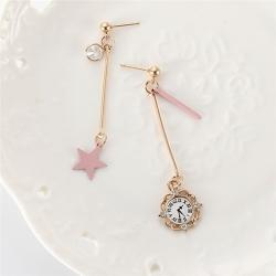 Littledesire Fashion Cute Pink Star Clock Earrings
